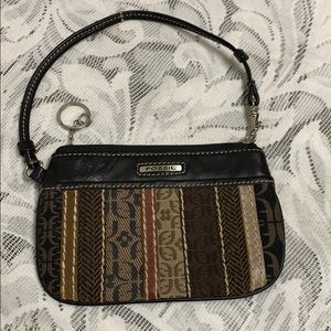 Fossil  black and brown wristlet.